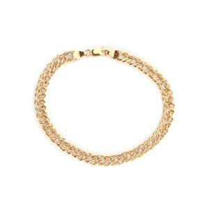"9"" Ladies Large Size Two Tone Gold Double Curb Bracelet 6.20g"