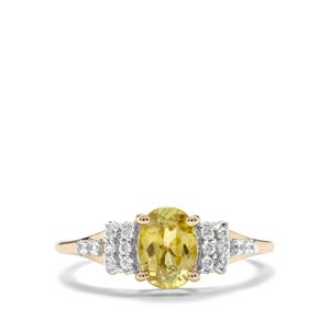 Ambilobe Sphene & White Zircon 9K Gold Ring ATGW 1.51cts