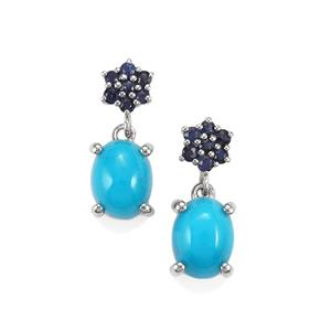 Sleeping Beauty Turquoise Earrings with Ceylon Sapphire in Platinum Plated Sterling Silver 2.66cts