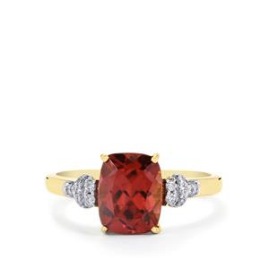 Zanzibar Zircon Ring with Diamond in 14K Gold 3.46cts
