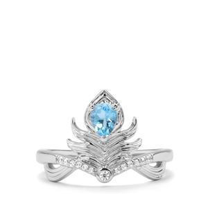 Swiss Blue Topaz & White Zircon Sterling Silver Ring ATGW 0.46cts