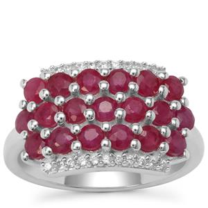 Burmese Ruby Ring with White Zircon in Sterling Silver 2.3cts