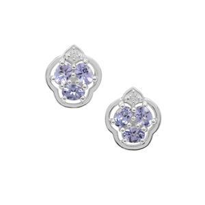 Tanzanite & White Zircon Sterling Silver Earrings ATGW 1cts