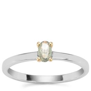 Alexandrite Ring in Sterling Silver with 18k Gold Prongs 0.24ct