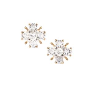 Leuco Sapphire Earrings with White Zircon in 9K Gold 1.33cts