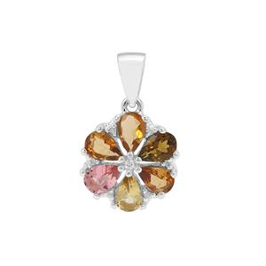 Multi-Colour Tourmaline Pendant with White Zircon in Sterling Silver 2.49cts