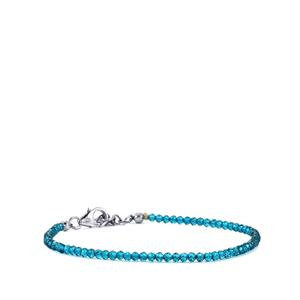 Blue Topaz Bead Bracelet  in Sterling Silver 9.75cts