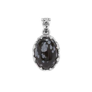 Snowflake Obsidian Pendant in Sterling Silver 5.08cts