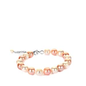 The Ultimate Naturally Coloured Pink Cultured Pearl Sterling Silver Bracelet (9mm)