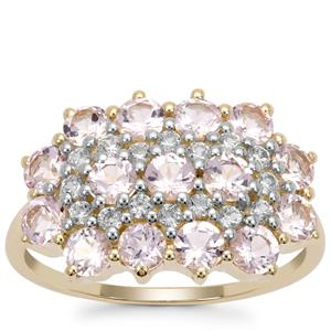 Pink Morganite Ring with White Zircon in 9K Gold 1.77cts
