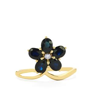 Australian Blue Sapphire Ring with Diamond in 10k Gold 1.68cts