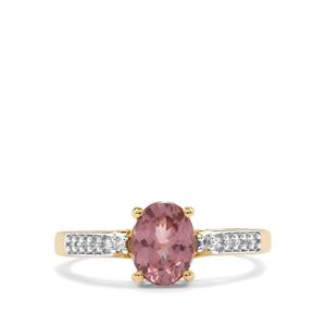 Mahenge Pink Spinel Ring with Diamond in 18K Gold 1.42cts