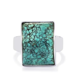 Tibetan Turquoise Ring in Sterling Silver 12cts