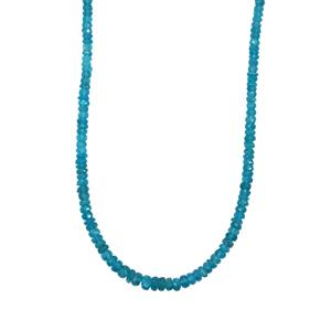 60ct Neon Apatite Platinum Plated Sterling Silver Graduated Bead Necklace