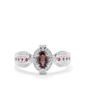 Burmese Pink Spinel, Sakaraha Pink Sapphire Ring with White Zircon in Sterling Silver 1.02cts