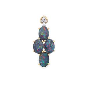 Crystal Opal on Ironstone Pendant with White Zircon in 10K Gold