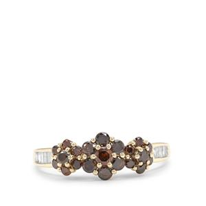 Red Diamond Ring with White Diamond in 9K Gold 0.77ct