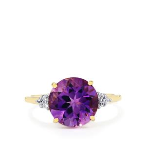 Moroccan Amethyst & White Zircon 9K Gold Ring ATGW 3.53cts
