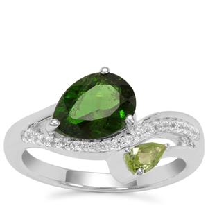 Chrome Diopside, Peridot Ring with White Zircon in Sterling Silver 2.16cts