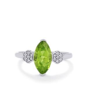 Changbai Peridot & White Zircon 10K White Gold Ring ATGW 1.71cts