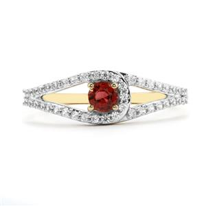 Mahenge Red Spinel Ring with White Zircon in 10K Gold 0.51ct