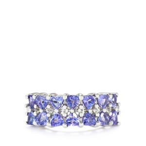 Tanzanite & White Topaz Sterling Silver Ring ATGW 2.52cts