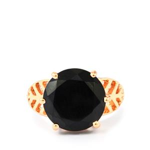 Black Spinel Ring in Two Tone Gold Plated Sterling Silver 10.50cts