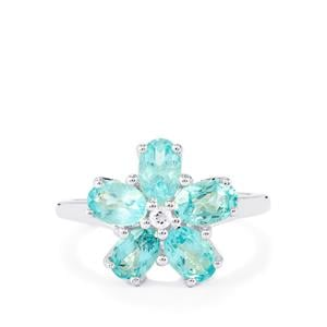 Madagascan Blue Apatite Ring with White Topaz in Sterling Silver 2.33cts