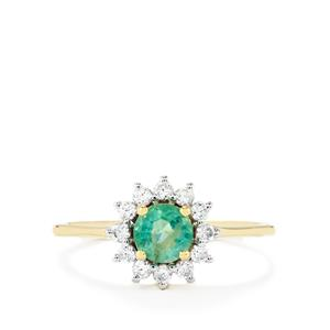 Zambian Emerald Ring with White Zircon in 10k Gold 0.84cts