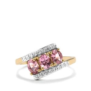 Mahenge Pink Spinel Ring with White Zircon in 10K Gold 1.26cts