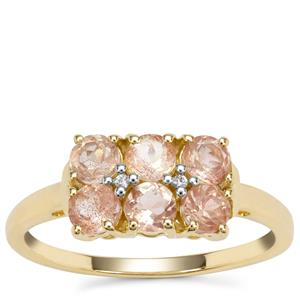 Padparadscha Oregon Sunstone Ring with White Zircon in 9K Gold 1.03cts