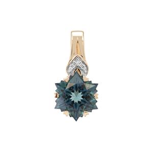 Wobito Snowflake Cut Jetstream Topaz Pendant with Diamond in 9K Gold 5.45cts