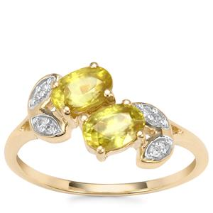 Ambilobe Sphene Ring with Diamond in 10k Gold 1.26cts