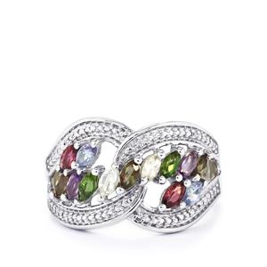 Exotic Gems & Diamond Sterling Silver Ring ATGW 1.04cts