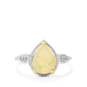 Ethiopian Opal Ring with White Zircon in 9K Gold 1.53cts