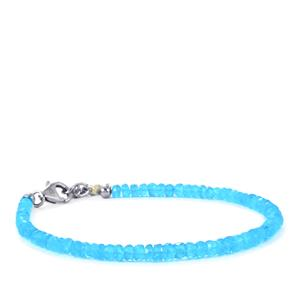 Neon Apatite Bead Bracelet  in Sterling Silver 18.50cts