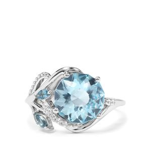 Lotus Cut Sky Blue, Marambaia London Blue Topaz & White Zircon Sterling Silver Ring ATGW 4.72cts