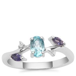 Ratanakiri Blue Zircon Ring with Iolite & White Zircon in Sterling Silver 0.95ct