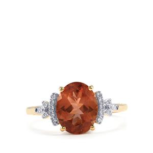 Oregon Sunstone Ring with Diamond in 18K Gold 2.09cts