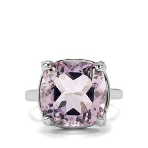 Rose De France Amethyst Ring with White Topaz in Sterling Silver 8.06cts