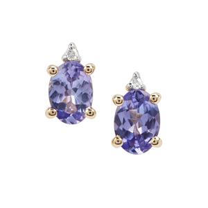 AA Tanzanite & Diamond 9K Gold Earrings ATGW 1.27cts