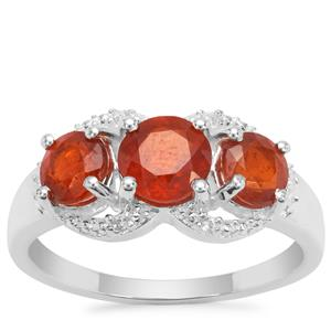 Loliondo Orange Kyanite Ring with White Zircon in Sterling Silver 2.36cts
