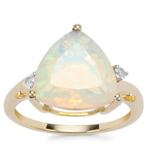 Ethiopian Opal Ring with White Zircon in 9K Gold 3.20cts