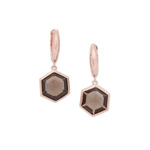 Smokey Quartz Earrings in Rose Gold Plated Sterling Silver 6.31cts