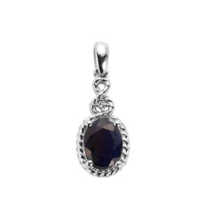 Madagascan Blue Sapphire & White Topaz Sterling Silver Pendant ATGW 2.22cts