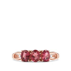 Cruzeiro Pink Tourmaline Ring with Diamond in 9K Rose Gold 0.95ct
