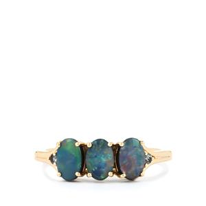 Crystal Opal on Ironstone Ring with Colour Change Garnet in 10K Gold