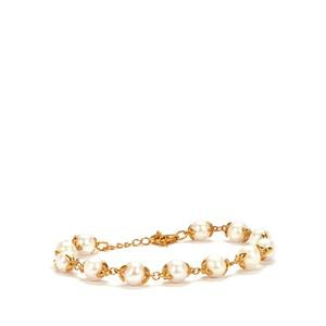 Kaori Cultured Pearl Bracelet in Gold Tone Sterling Silver (8mm)