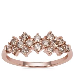 Champagne Argyle Diamond Ring in 9K Rose Gold 0.76ct