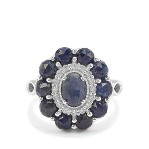 Rose Cut Bharat Blue Sapphire & White Zircon Sterling Silver Ring ATGW 5.09cts